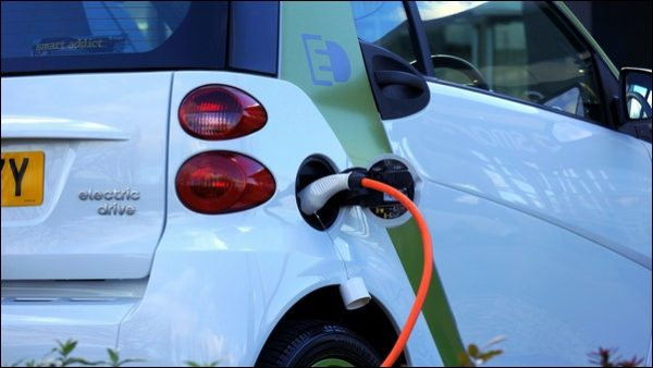 An electric car charging up