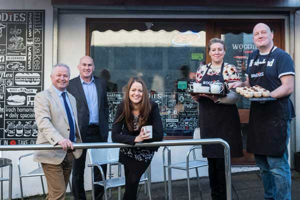 Right to left are Cllr Sean Morgan, Glyn Thomas, Manager in Wales for UK Steel Enterprise, CCBC Officer Claire Vokes and business owners Sarah Wareham and Darren Ingram