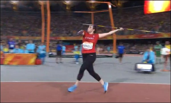 Hollie Arnold with her gold medal winning javelin throw at the 2018 Commonwealth Games