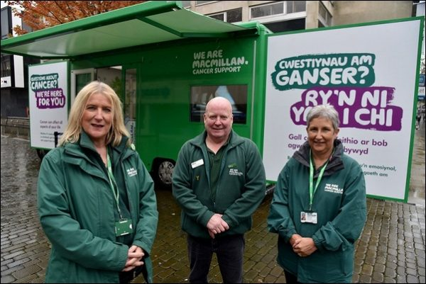 The Macmillan Support bus is at Caerphilly, Blackwood and Bargoed this week