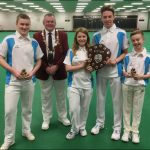 CHAMPIONS: The 2017 under 18 Welsh indoor bowls champions from left: Kain Price, Alex Morgan, Ryan Davies and Ollie Witchall with WIBA President David Phillips