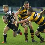 Tom Rowlands with the ball in hand for Bedwas against Newport RFC