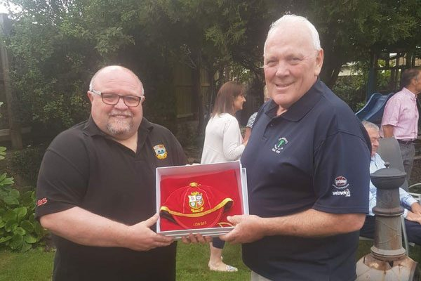 LION: Jeff Whitefoot, right, together with Dave Newton of Bedwas RFC