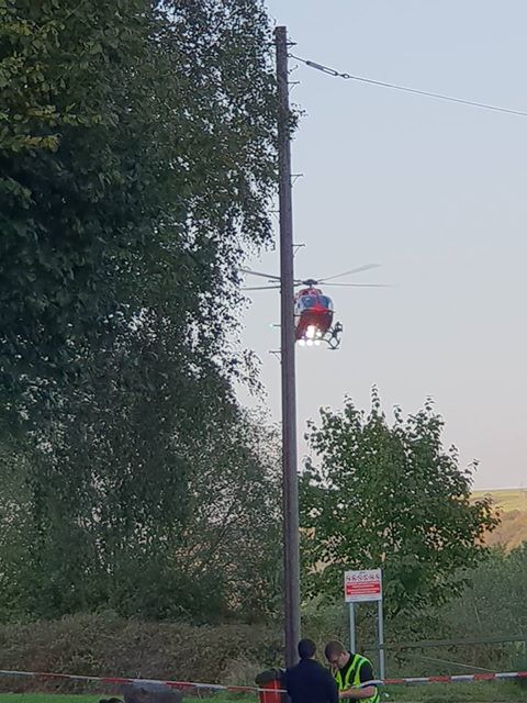 The Wales Air Ambulance leaving Llanbradach