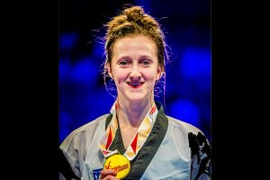 WINNER: Lauren Williams, beat Croatia's Matea Jelic to win her gold medal