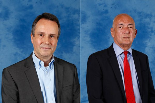 Pengam councillor Kevin Dawson, left, and Pontllanfraith councillor Gez Kirby