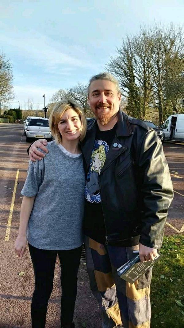 Llancaiach Fawr staff member Lee Jessop with Dr Who star Jodie Whittaker