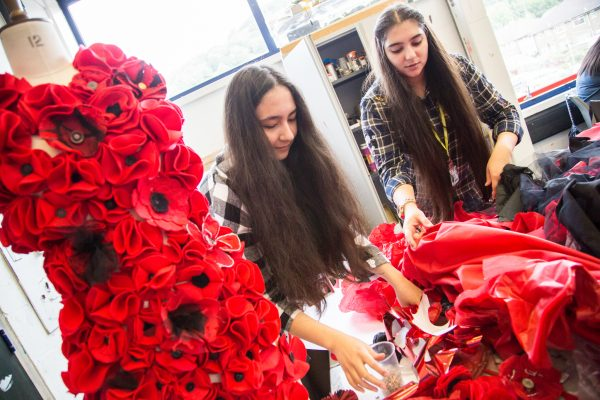 REMEMBRANCE: The Poppy dress was created by Coleg Gwent students