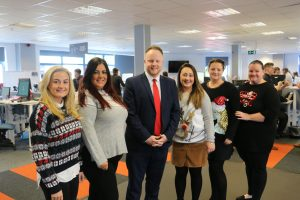 The launch of Operation Santa at Caerphilly-based business Creditsafe. Left to right: Alexandra Hill, Natalie Paul, Martine Williams, Kelly Mason and Rhian Del-Valle.
