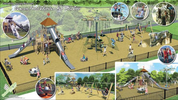 An artist's impression of the new 'adventure hub' at Cwmcarn Forest