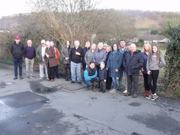 Llanbradach residents in front of the proposed development site
