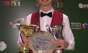 Dylan Emery with his trophies from the European Championships in Israel