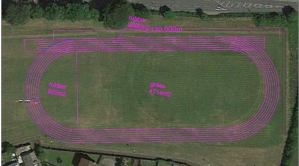 An overlay of the proposed track at Rhiw Syr Dafydd Primary School