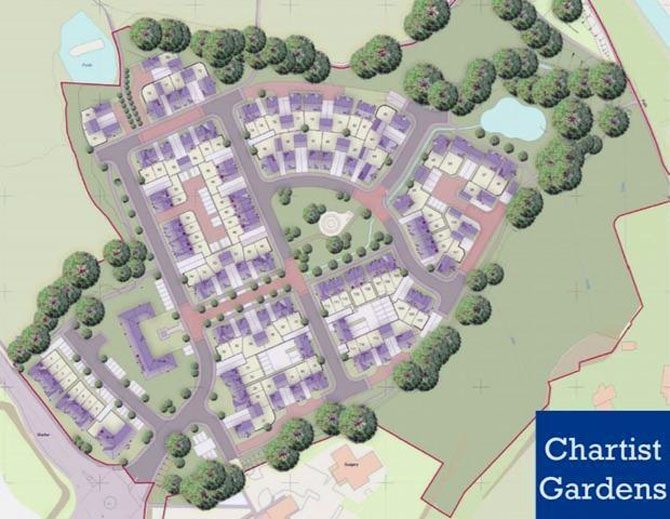 An image showing a layout of the plans for Chartist Gardens in Pontllnafraith
