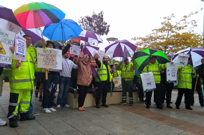 Waste staff protesting outside Caerphilly County Borough Council's headquarters