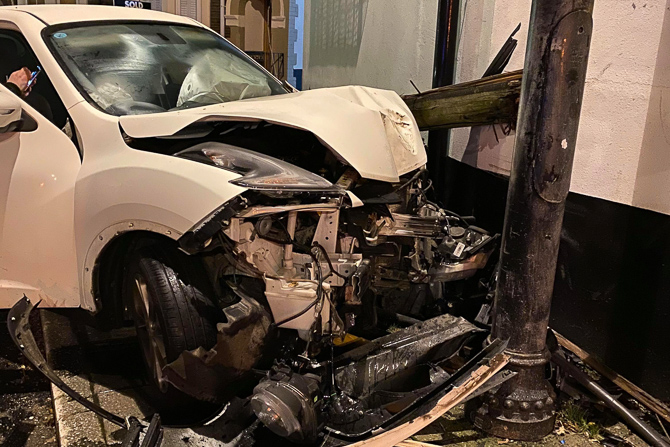 Picture of a white Nissan Juke which crashed in Caerphilly on December 1, 2019.