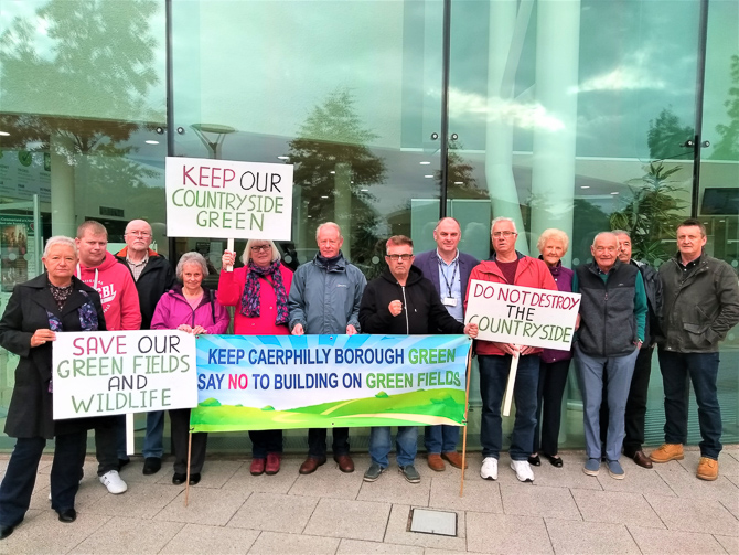 Protesters gathered outside Caerphilly Council's offices ahead of the planning appeal
