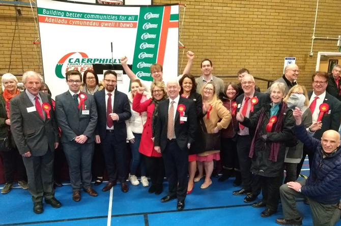 Labour members celebrate their win in Caerphilly