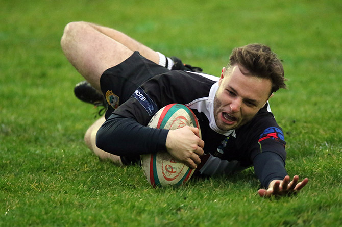 Owain Keane scores for Bedwas in the defeat to Bargoed