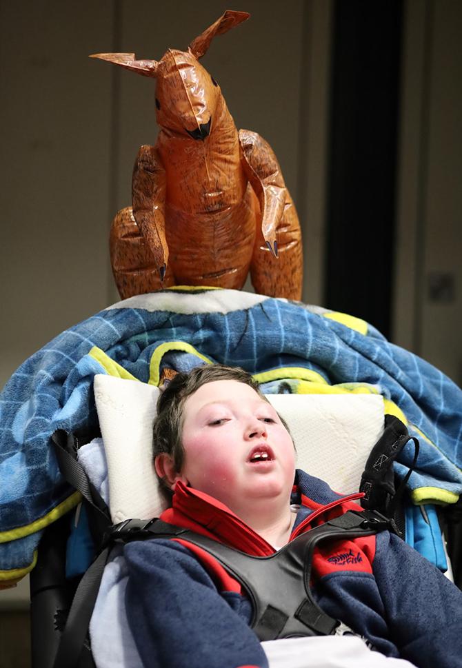 Trinity Fields pupil Marley Van Keogh with an inflatable kangaroo