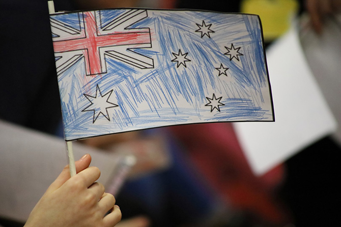 An Australian flag coloured in by pupils at Trinity Fields School