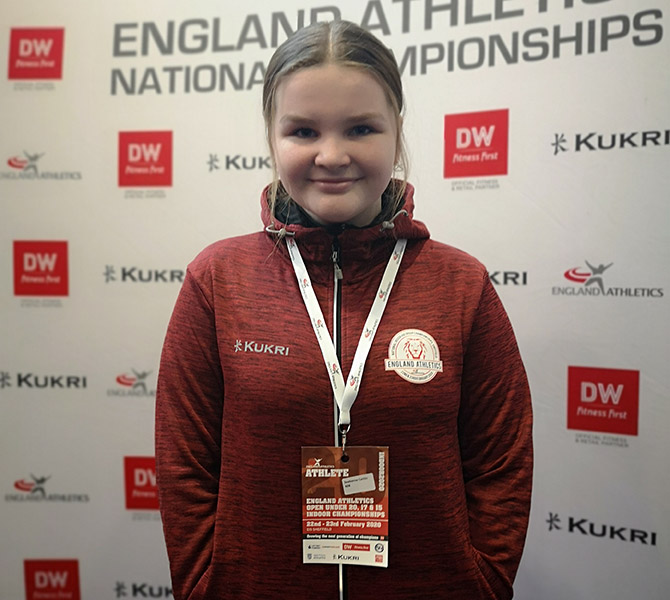 Caitlin Seabourne after the English Indoor Championships in Sheffield