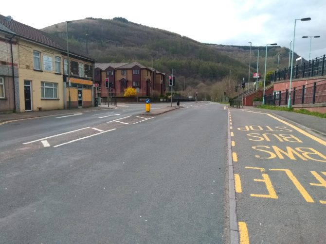 DESERTED: The road through Crosskeys is usually very busy - but not at the moment