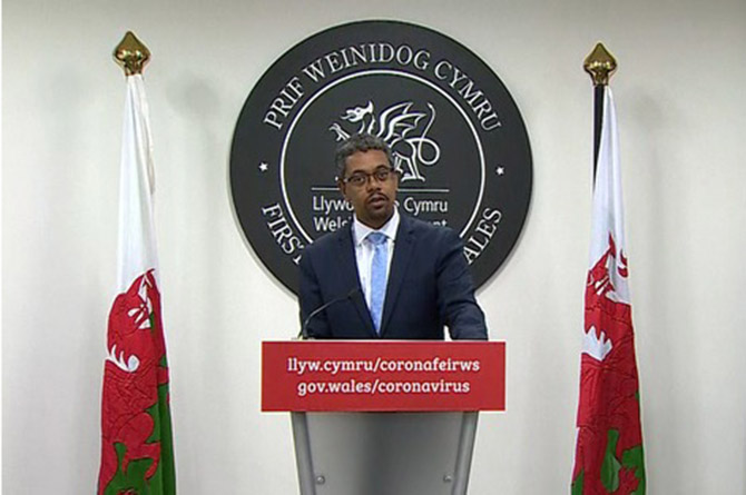 Welsh Health Minister Vaughan Gething at a Welsh Government daily briefing