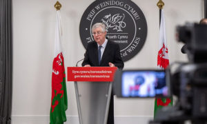 First Minister Mark Drakeford during a Welsh Government coronavirus press conference