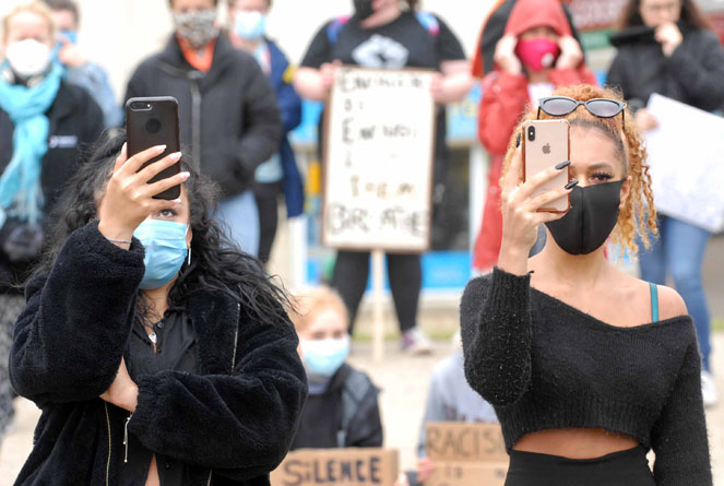 Protesters at the Black Lives Matter protest at Caerphilly Castle held on Saturday, June 6