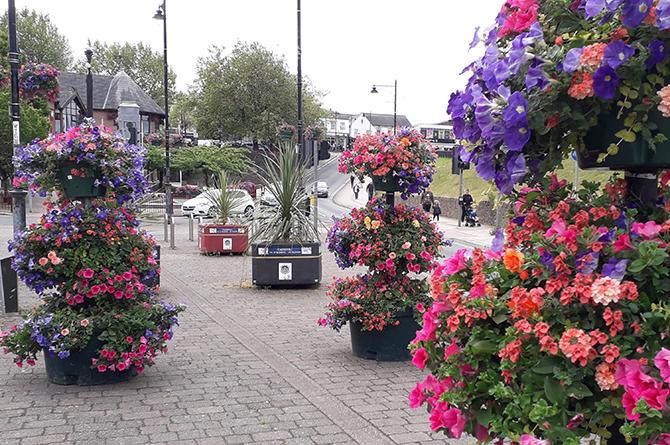 Flower displays in Caerphilly town centre