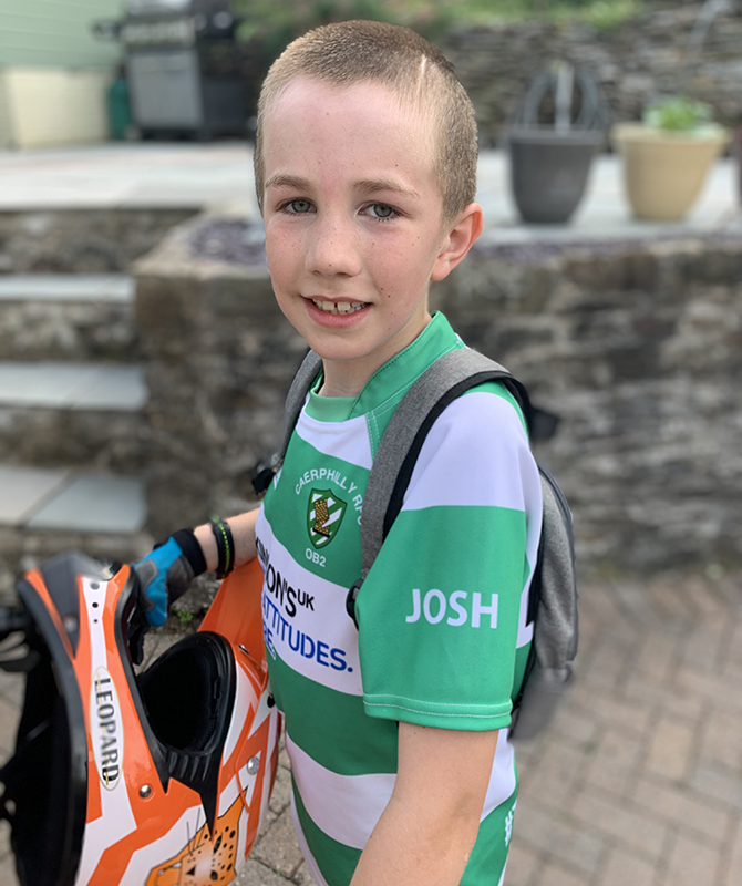 Caerphilly Rugby Club under 10s have worn Josh's name on their sleeves this season.