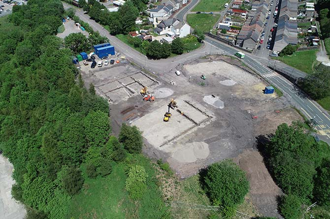 An aerial view of the Rhymney Lawns Estate taken in May 2020.