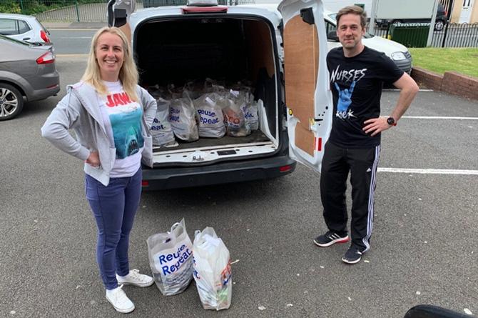 Volunteers at Rhymney Valley food bank