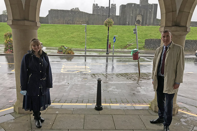 Delyth Jewell MS, left, with Plaid Cymru leader Adam Price at the bandstand in Caerphilly town centre