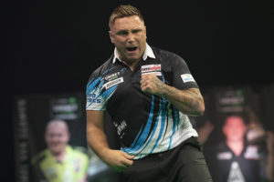 Gerwyn Price during his Premier League Darts clash with Gary Anderson