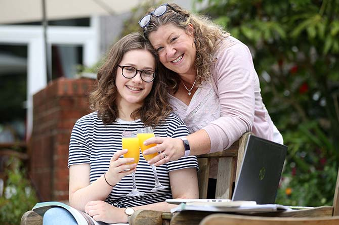 Josie Wood celebrating her A-level results with her mother
