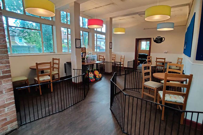 Social distancing is in place at the Old Library Cafe