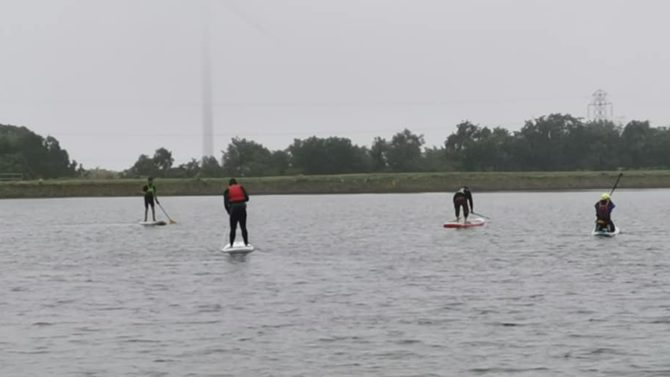Paddle boarding had recently returned to Pen y Fan Pond