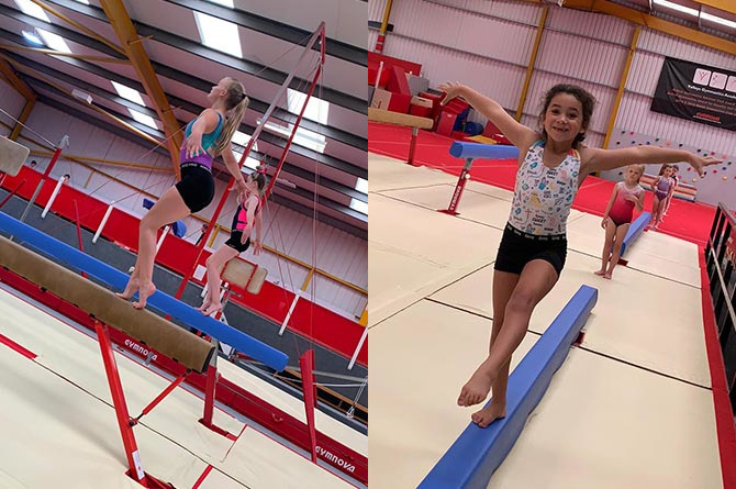 Young gymnasts taking part in socially distanced classes