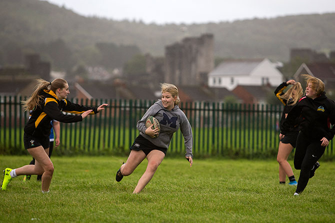 The Chargers Female Hub training at Caerphilly RFC