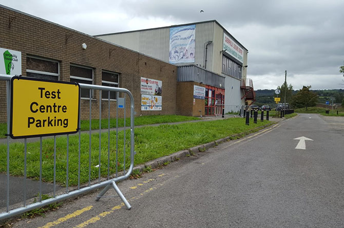 A temporary coronavirus test centre has been set up outside Caerphilly leisure centre