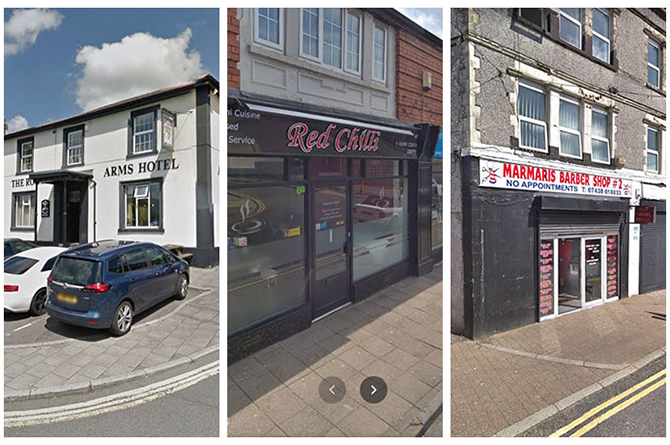 The Royal Arms Hotel in Rhymney, New Red Chilli in Blackwood and Marmaris Barber Shop #2 in Ystrad Mynach
