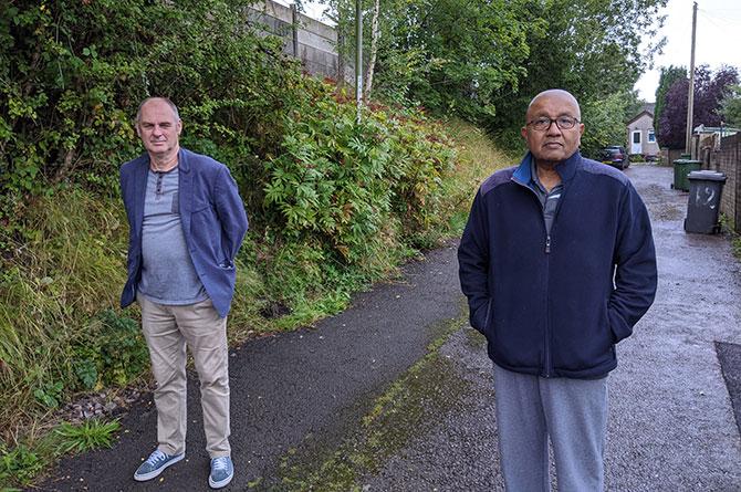 Blackwood councillor Nigel Dix, left, with resident Darryl Thurairajah