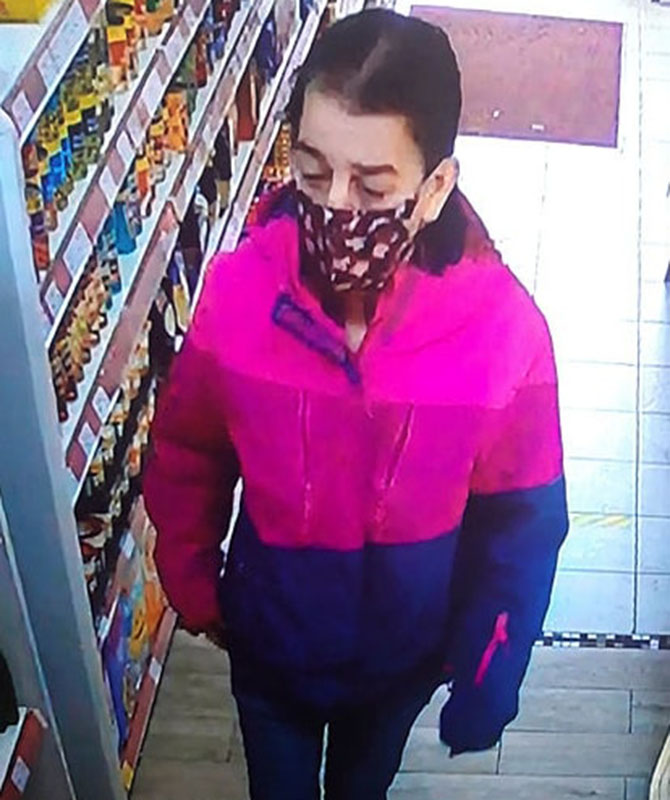 CCTV images showing Adell Cowan at the 7/11 convenience store on Bedwas Road, Caerphilly, before her death