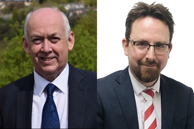Wayne David MP, left, and Hefin David MS