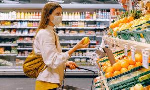 supermarket face mask stock image