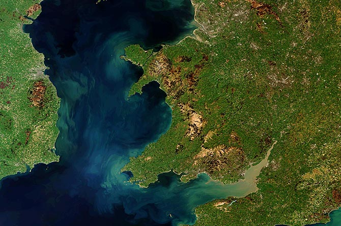 An image of Wales taken from space
