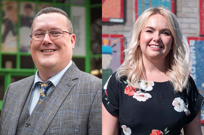 David Church and Stacey Harris have been named among the winners at the Professional Teaching Awards Cymru
