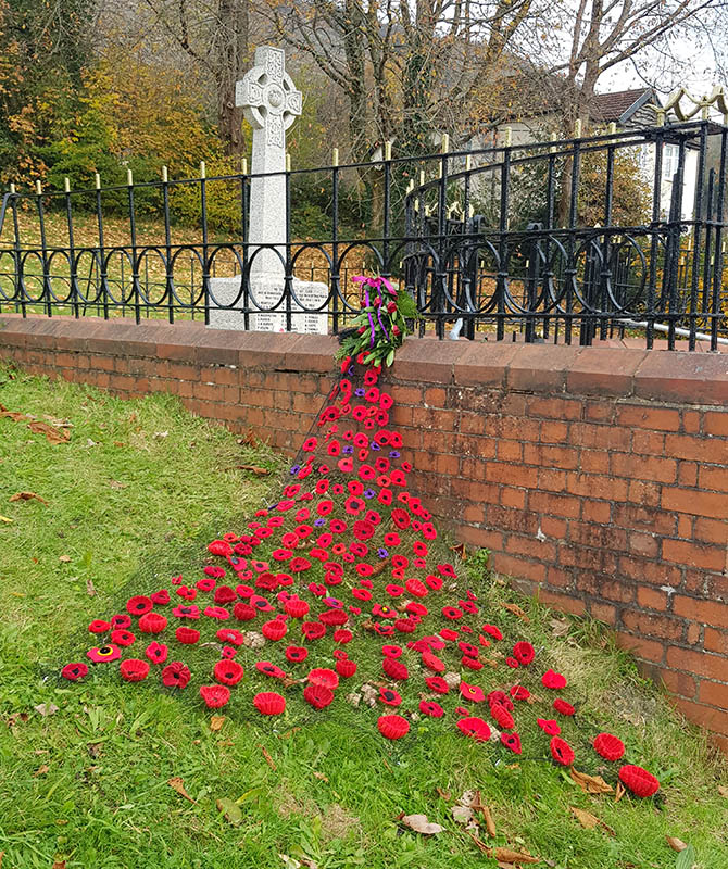 Residents knitted a poppy display for the Machen war memorial